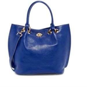 100% Blue Genuine Leather Fashion Tote